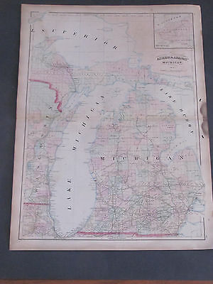 1873 Asher and Adams Ohio and Indiana Map