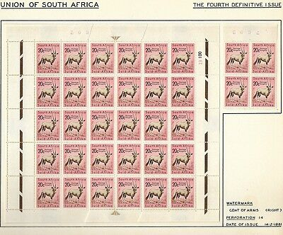 South Africa 1961 Definitive 20c Gemsbok Coat of Arms Hinged on Album Page x34
