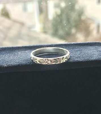 Art Deco Engraved Filigree Vintage Style Sterling Silver Stack Band Ring