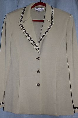 St John Collection Beige (Cream) Long Jacket With Beaded Trimming Size 14