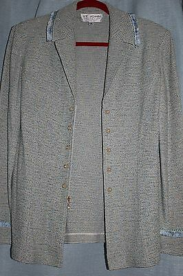 St John Collection Light Blue and Lime Green Long Jacket Size 12