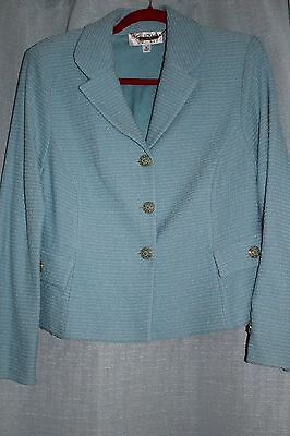 St. John Couture Light Blue and White Bow Jacket Size 12