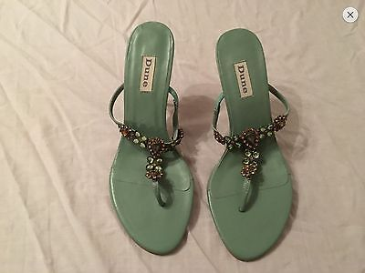 Dune Womens Toe Post Strapy Jewelled Sandal Turquoise Valentines Holiday Size 7