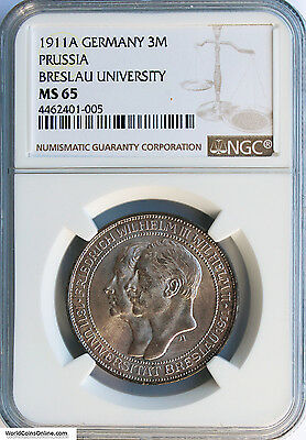 Germany, Prussia 1911-A Silver 3 Mark. Breslau University. Ngc Ms-65.