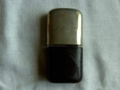 VINTAGE SCHWEPPES LEATHER, METAL & GLASS HIP FLASK 4 inches