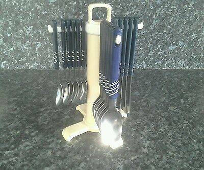 Retro cutlery set  for six on swivel stand
