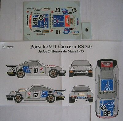PORSCHE 911 CARRERA RS n° 67 J AND CO LE MANS 1975 DECAL 1/43e