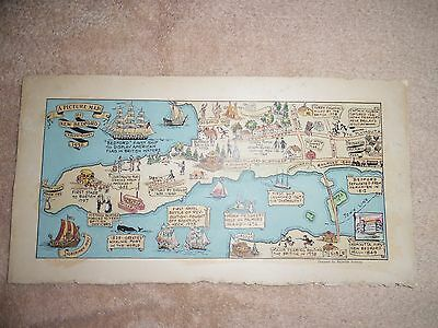 Vintage Map 1930 Reynolds Pictorial Map of New Bedford, Massachusetts