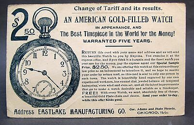 1894 EASTLAKE Mfg. Co. AMERICAN GOLD FILLED POCKET WATCH Advertising postcard *