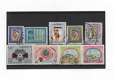 9 Old Stamps of Kuwait, presented on a stockcard, nice, collectable