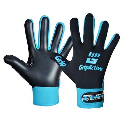 Grip Active Premium Quality Gaelic Football Gloves - Black & Sky Blue - Adult