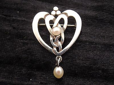Sterling Silver and Pearl by SHETLAND SILVER luckenbooth heart with celtic knots