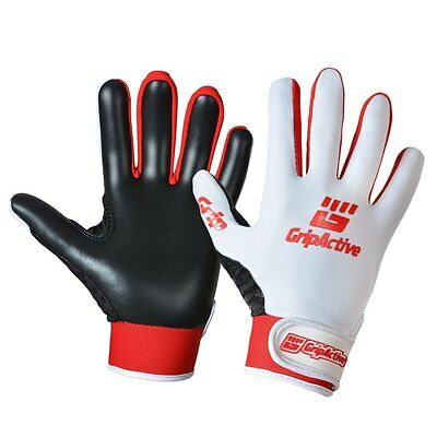 Grip Active Premium Quality Gaelic Football Gloves - White & Red - Adult