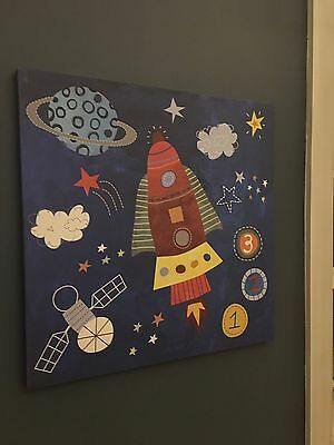 Rocket Ship and Planets Wall Art Decor Hangings for Boys Bedroom