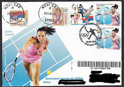 Serbia 2008 Insured letter, Jelena Jankovic, Tennis, Olympic Games,Beijing,China