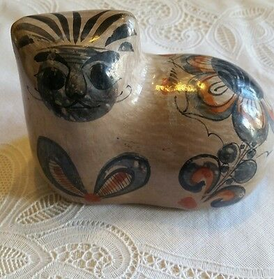 Mexican brown floral pottery cat