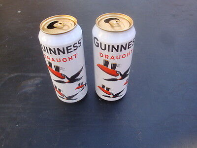 2 Guinness Draught Two Toucans Pint Beer Cans Limited Edition Collector - Empty