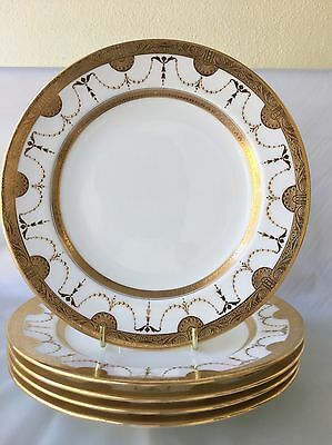 (5) Mintons  Gold Encrusted 7.75 inch LUNCHEON PLATES H1255 for Davis Collamore