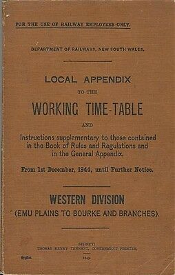 NSWR, Appendix to Working Time Table, Western Div, 1944, SC book,