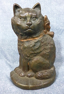 """Antique Conn. Foundry """"Cat with Bow on Pillow"""" Cast Iron Doorstop"""