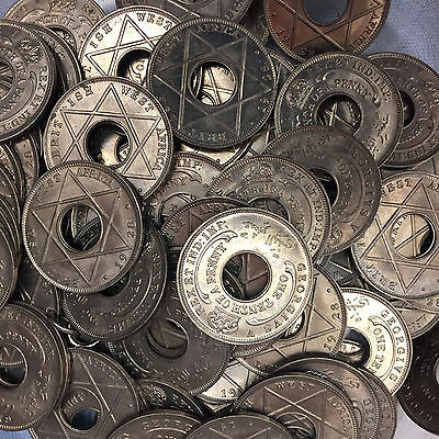 14 x Vintage British West Africa One Tenth of a Penny Coins