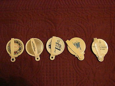 5 Vintage Advertising Celluloid Pocket Mirrors with folding handles