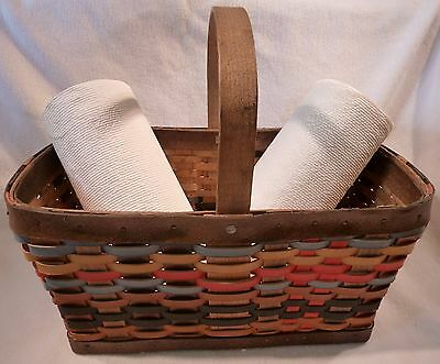 """Vintage - LARGE BASKET made of Colored Woven LEATHER STRIPS, about 18"""" x 10-1/2"""""""