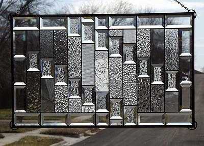 """• CLEAR REFLECTION•Beveled Stained Glass Window Panel ≈26 ½""""x16 ½""""• Signed &Numb"""