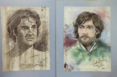 Signed Pastel Portrait of  Men Rainbow Color Gay Male Interest Wall Art Drawing