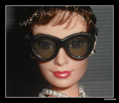 Sunglasses  Barbie Doll Audrey Hepburn Black Large Glasses Accessory For Diorama