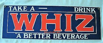 "LARGE Porcelain Enamel ""TAKE A WHIZ DRINK A BETTER BEVERAGE"" Metal Sign"