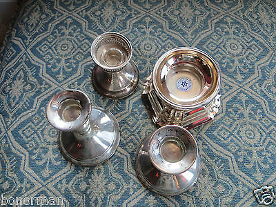 Vintage STERLING SILVER 835 German Silver-WEIGHTED-4-CANDLE-HOLDERS