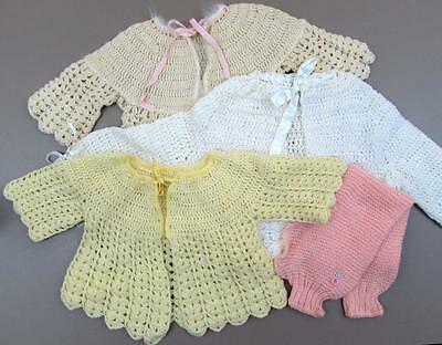 Vintage baby sweater lot of 3 crochet sweaters and one shrug - great doll reuse