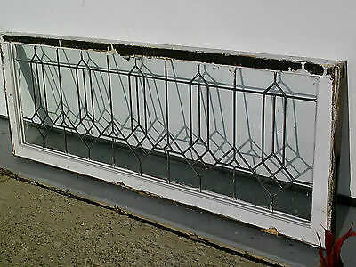"Antique Leaded Glass 40"" X 19""  Window"