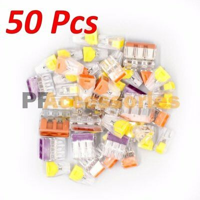50 Pcs Assorted Quick Push In Wire Connectors Assortment 24A 400V Conductor