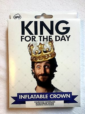 BNIB 'King For The Day' inflatable birthday crown, gold