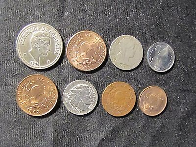 Lot of 8 Colombia Centavos Coins - 1921 2, 1948 2, 1953 5, 1956 20, 1956 10,1958