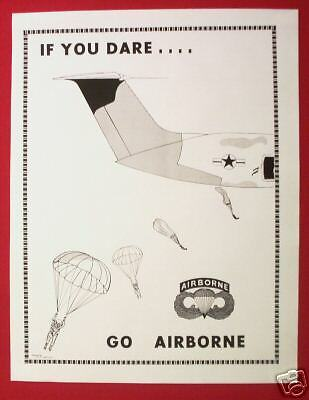 US Army 82nd Airborne Paratrooper Recruiting Poster If You Dare New