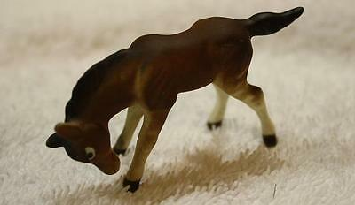 Vintage Miniature Ceramic Bone China Brown Horse Figure-Hand Painted-Made Japan