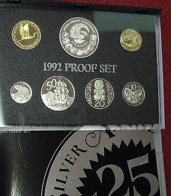 New Zealand 1992 Proof Set inc Decimal Coinage $5  coin