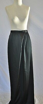 Lillie Ann 80's Black Satin Opera Long wrap Skirt & Jacket Set - 2 pieces Sz 10