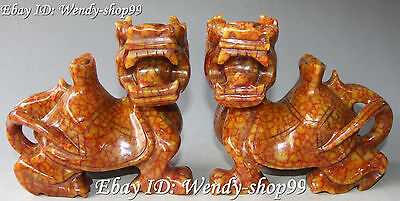 Chinese Handwork Carving Old Jade Wealth  Yuan Bao Dragon Turtle Beast Statue