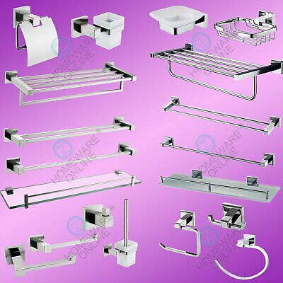Bathroom Shower SET Towel Rack Robe Hook Toilet Paper Roll Holder Tumbler Bar