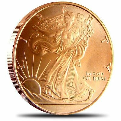1 AVDP oz Walking Liberty Copper Round .999 uncirculated coin.