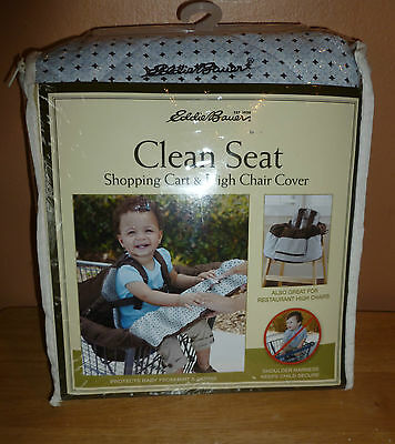 New blue /brown Eddie Bauer Clean Seat Shopping Cart High Chair Cover