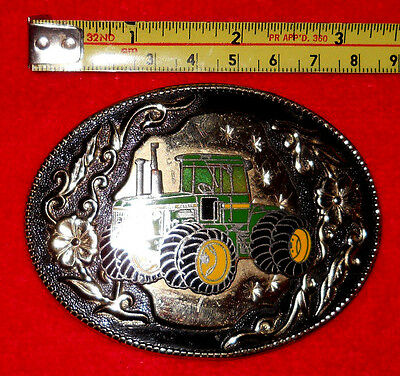 Vintage~John Deere Belt Buckle~3D Tractor~Black-Green-Yellow Enamel**rare**!