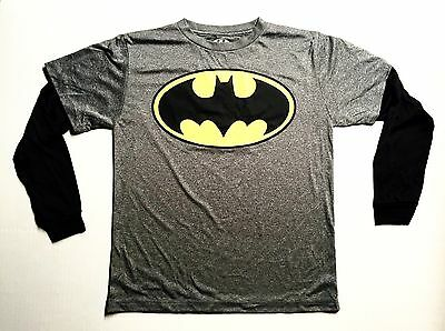 Licensed Batman - Youth Large Grey & Black Long Sleeve T-Shirt Polyester