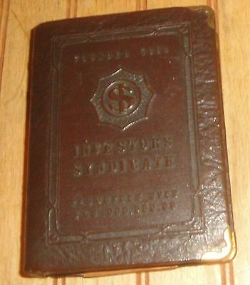 Vintage Investors Syndicate Leather & Metal Book Coin Piggy Bank no key