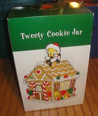 "1997 Looney Tunes Tweety Bird Christmas Gingerbread House 13"" Cookie Jar New MIB"