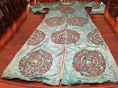 A Rare Chinese Qing Dynasty Blue Ground Embroidered Silk Robe.